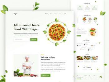 Clean Restaurant Landing Page Free UI XD