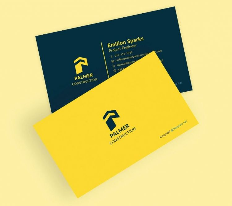 Construction Business Card Free Template (PSD)