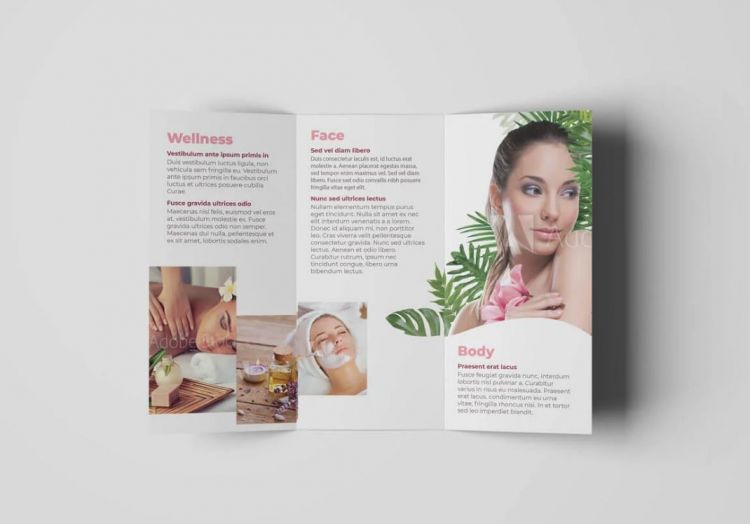 Cosmetic & Beauty Tri-Fold Free Template (AI)