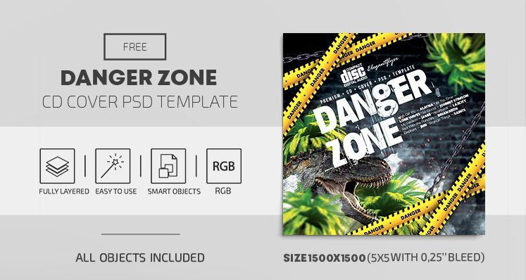 Danger Zone Free CD/Mixtape Cover Template (PSD)