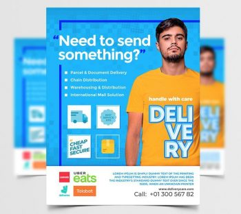 Delivery Services Free Flyer Template (PSD)