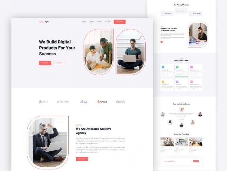 Digital Agency Free XD Landing Page