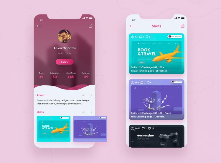 Dribbble Profile Page Free UI Kit for XD