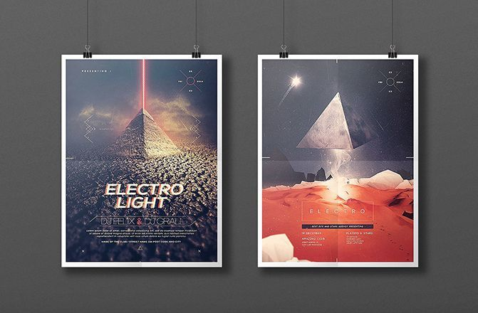 Electro Pyramid Free Event Poster Template (PSD)