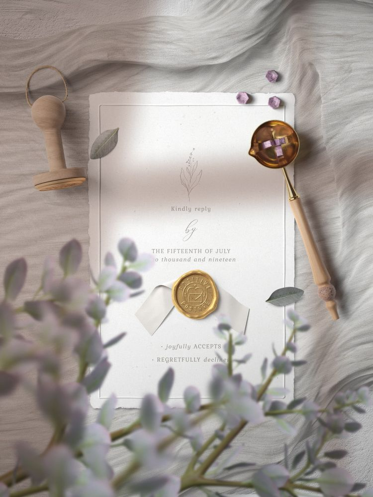 Elegant Invitation with Stamp Free Mockup