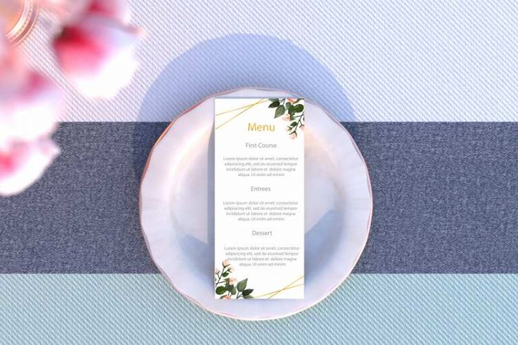 Elegant Wedding Menu Free Mockup