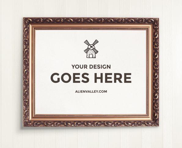 Elegant Wooden Poster Frame Free Mockup
