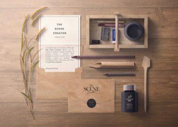 Envelope, Invitation, Lettering Free Mockup Scene