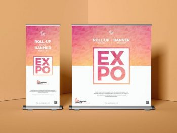 Expo Roll-Up Stand Banner Free Mockup