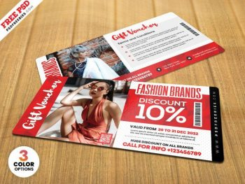 Fashion Store Gift Voucher Free Template (PSD)