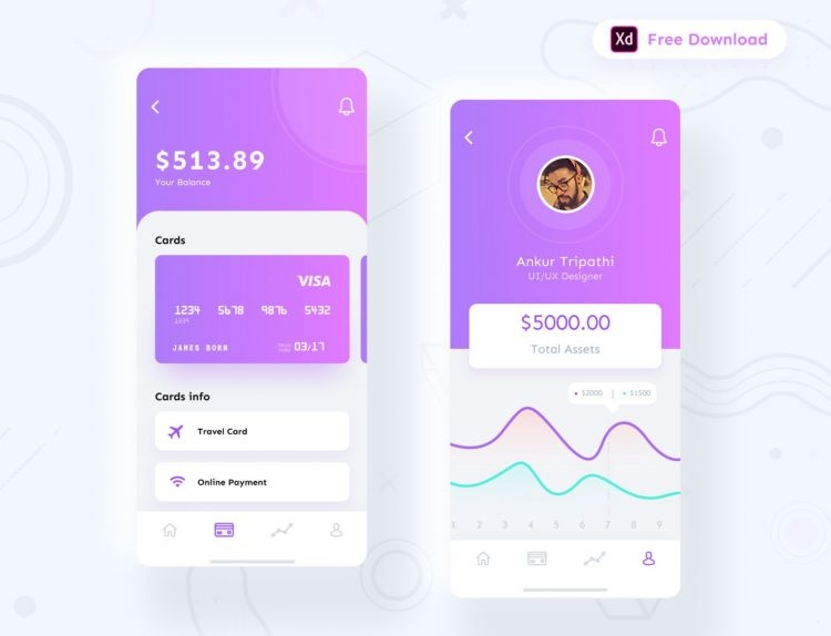 Financial & Card Management Free UI Kit (XD)