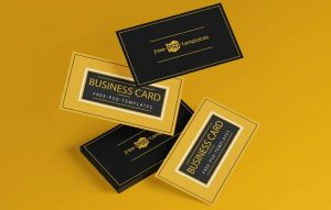 Floating Business Card Free Mockup Set