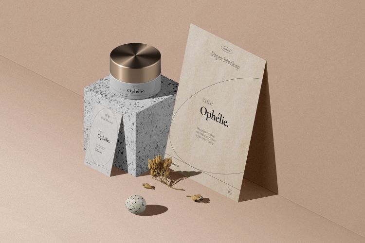 Flyer, Card and Jar Free Mockup Scene