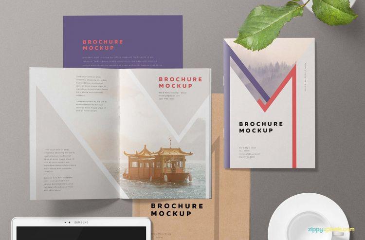 Free A5 Brochure Mockup (PSD)