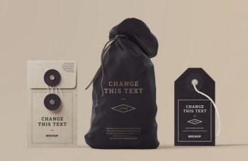 Free Bag Mockup with Box and Tag