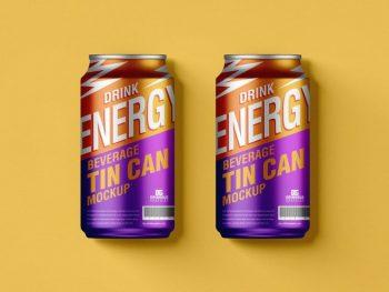 Free Beverage Tin Cans Mockup