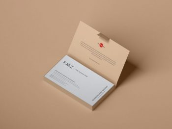 Free Business Cards inside Box Mockup