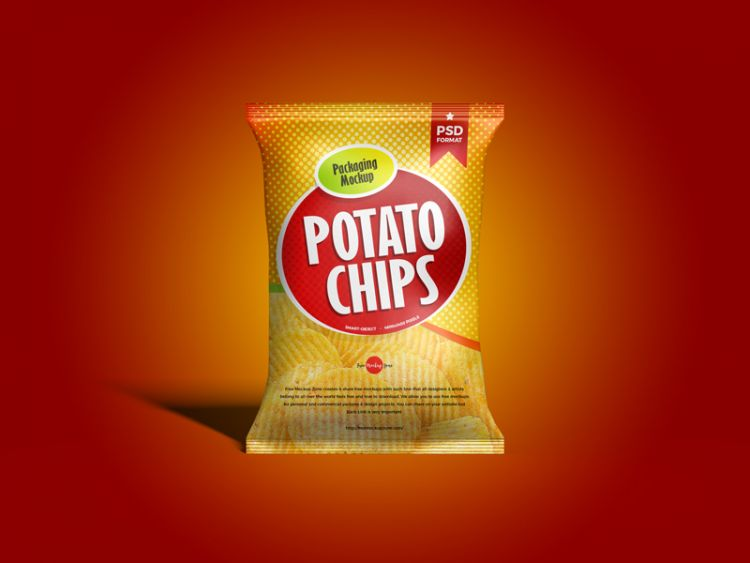 Free Chips Packaging Bag Mockup (PSD)