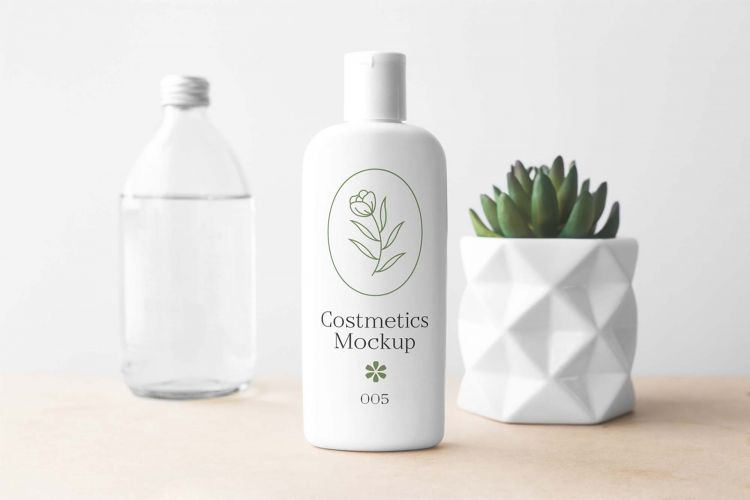 Free Cosmetics Bottle Mockup Scene (PSD)