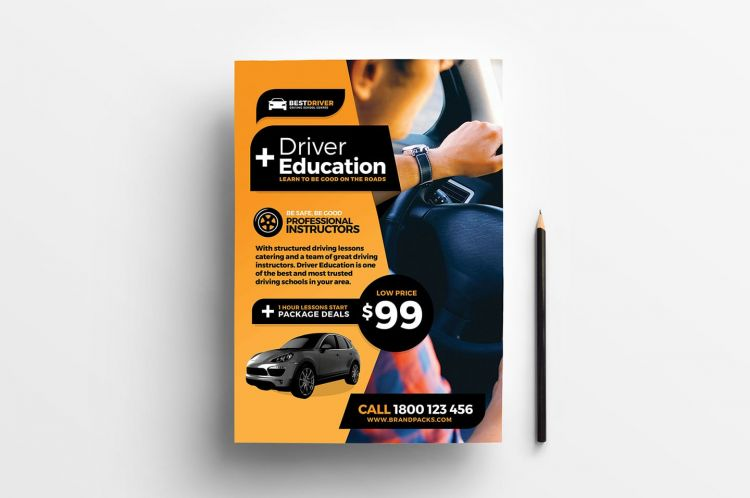 Free Driving School PSD Flyer Template