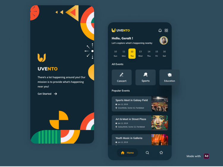 Free Event Manager App Template (XD)