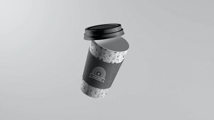Free Floating Coffee Cup Mockup (PSD)