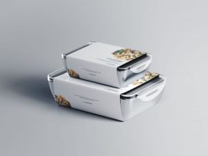 Free Food Container Mockup with Label (PSD)