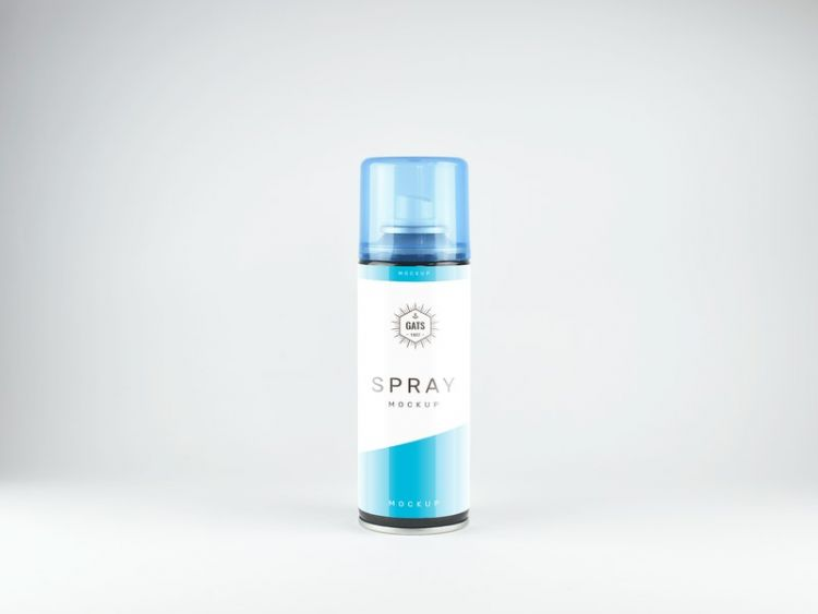 Free Front View Spray Bottle Mockup (PSD)