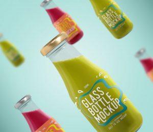 Free Glass Beverage Bottles Mockup (PSD)