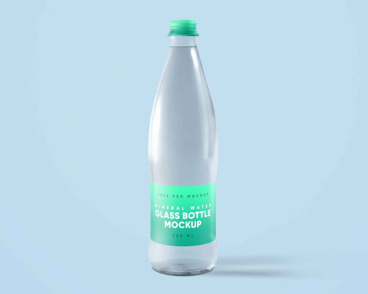 Free Glass Mineral Water Bottle Mockup (PSD)