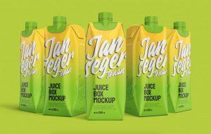 Free Juice Box Packaging Mockup