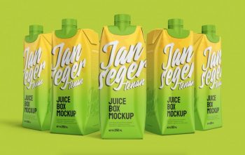 Free Juice Box Packaging Mockup