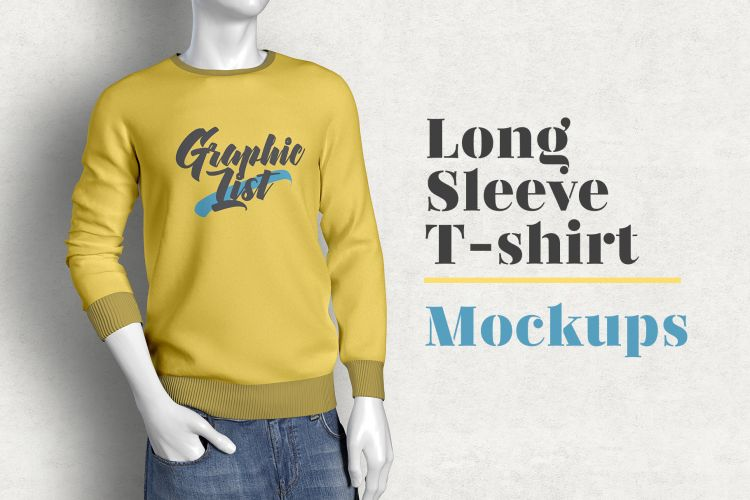 Free Long Sleeve T-shirt Mockup