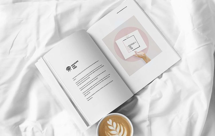 Free Magazine on Bed Mockup (PSD)