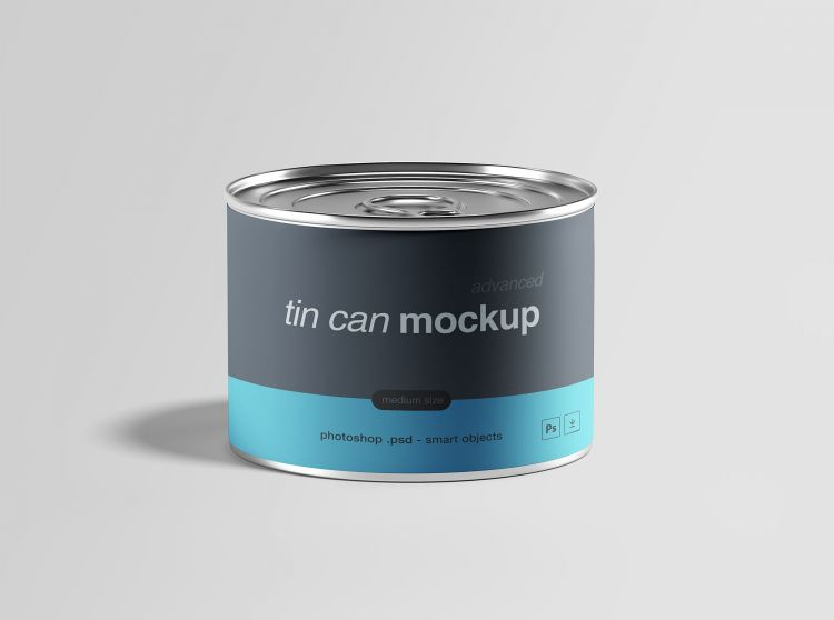 Free Medium Size Tin Can Mockup (PSD)