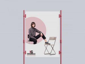 Free Metal Clasps Poster Mockup (PSD)