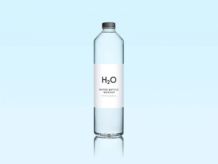 Free Minimal Water Bottle Mockup