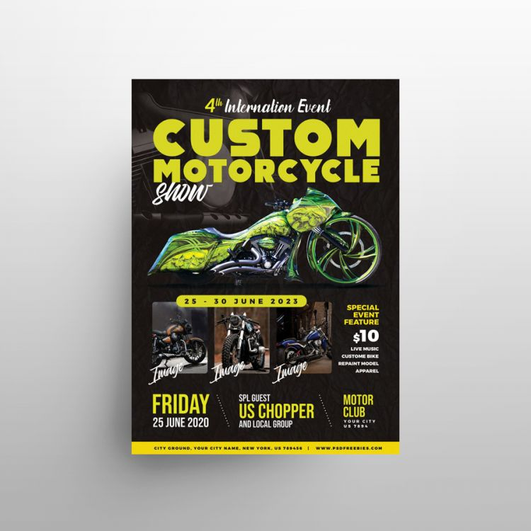 Free Motorcycle Show Flyer Template (PSD)