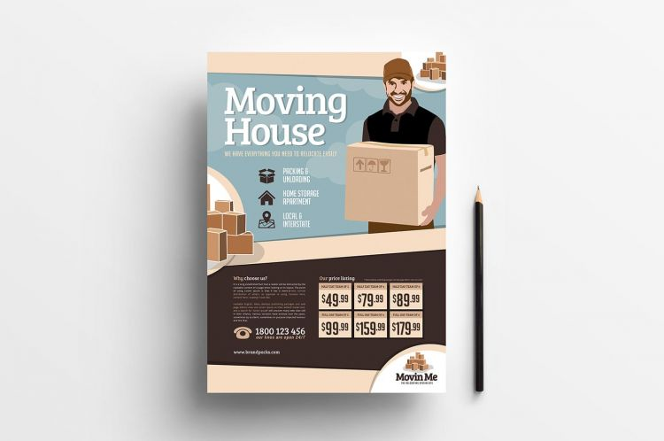 Free Moving House PSD Flyer Template