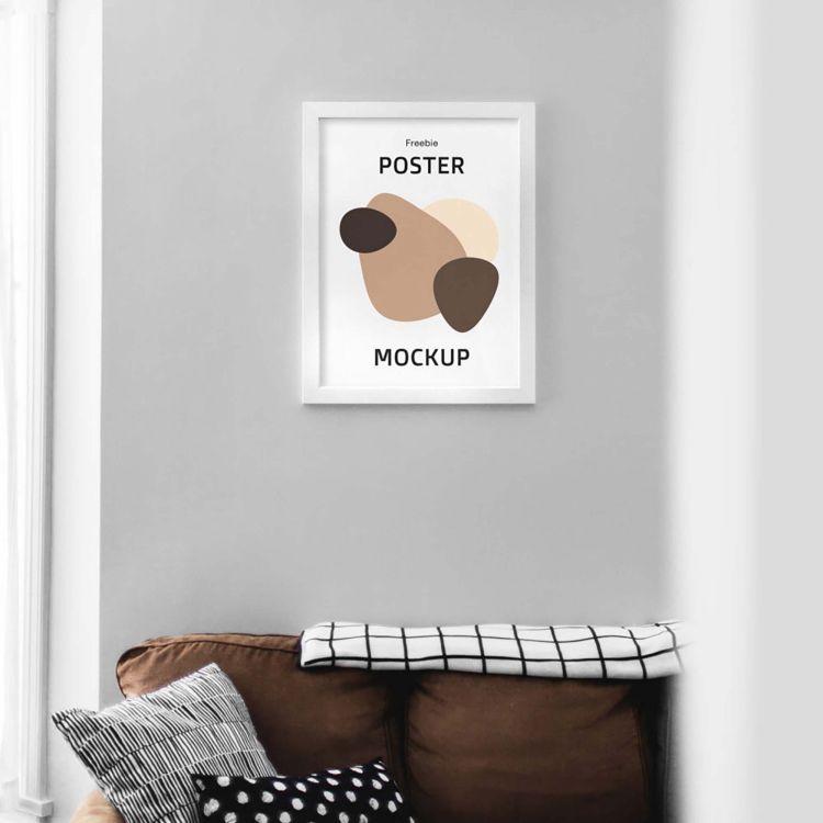 Free Poster Frame Interior Mockup (PSD)