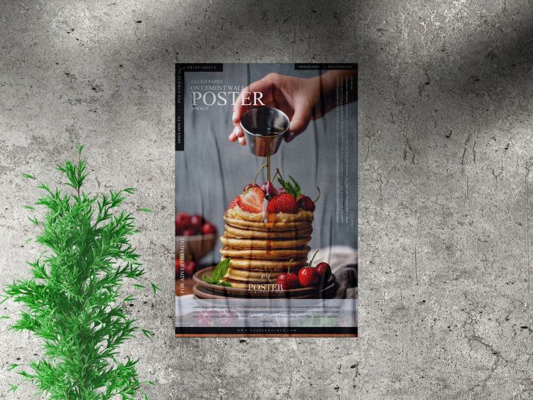 Free Poster Mockup in Cement Wall
