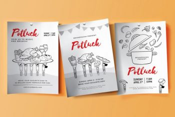 Free Potluck PSD Flyer Templates