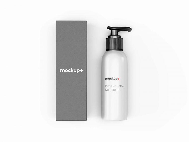 Free Pump Lid Bottle Packaging Mockup (PSD)