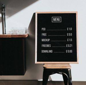 Free Restaurant Menu Chalkboard Mockup (PSD)