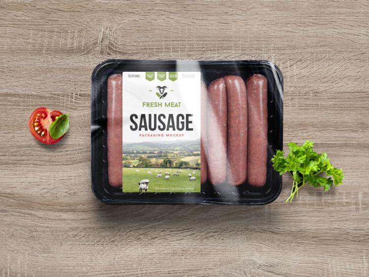 Free Sausage Food Packaging Mockup (PSD)