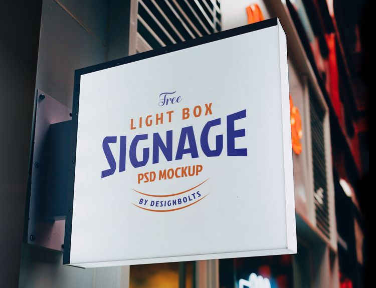 Free Square Light Box Signage Mockup (PSD)