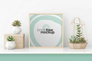 Free Square Poster Frame Mockup (PSD)