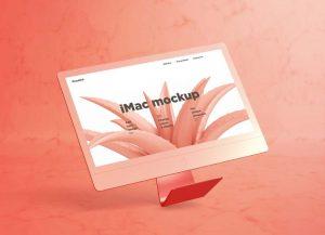 Free iMac Mockup with Marble Background