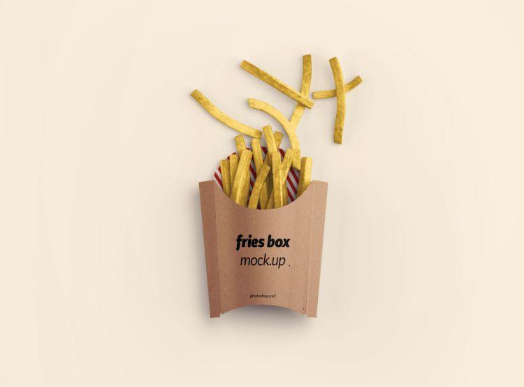 Fries Box Packaging Free Mockup