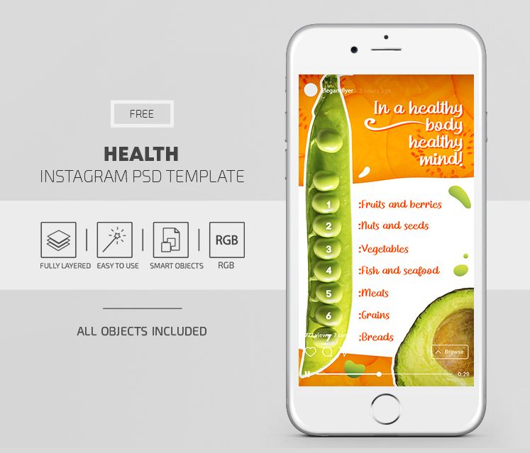 Fruits Ad Free PSD Instagram Post & Story